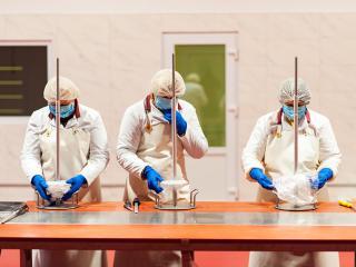 Подготовка к производству мяса для шаурмы Happy Doner